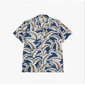 SUN68 shirt camp collar s/s BLUE PROFONDO