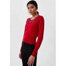 LIUJO maglia chiusa con applicazioni sul collo RED MIAMI