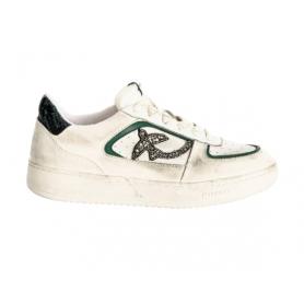 PINKO flat sneakers LIQUIRIZIA LOW TOP in pelle con pietre