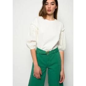 PINKO t-shirt maniche palloncino RIPETITIVO WHITE
