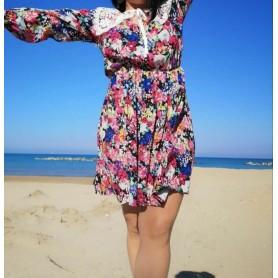DIXIE abito floreale multicolor colletto pizzo