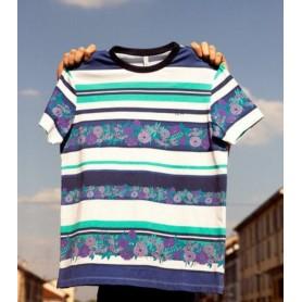 SUN68 t-shirt full print NAVY BLUE/BIANCO