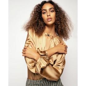 PINKO blusa in satin stretch FAMATINA GOLD